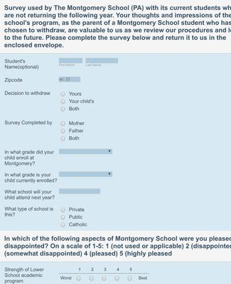School Withdrawal Survey