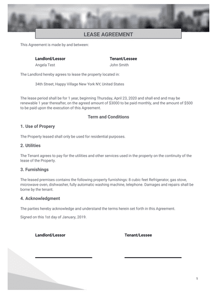 Simple One Page Lease Agreement Template