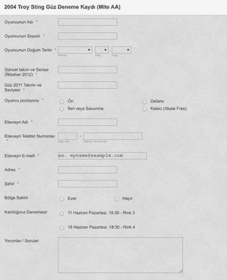 Sporcu Kayıt Formu