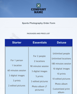 Sports Photography Order Form Template
