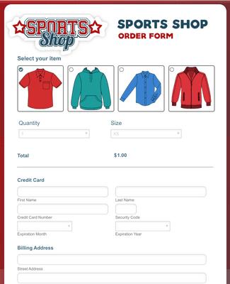 Sports Shop Order Form