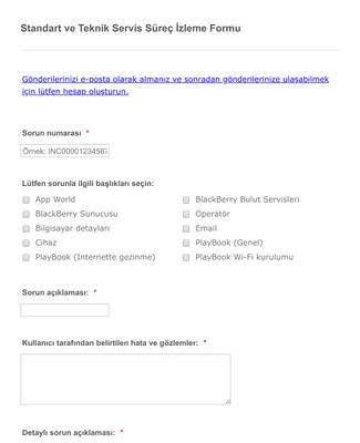 Standart ve Teknik Servis Süreç İzleme Formu
