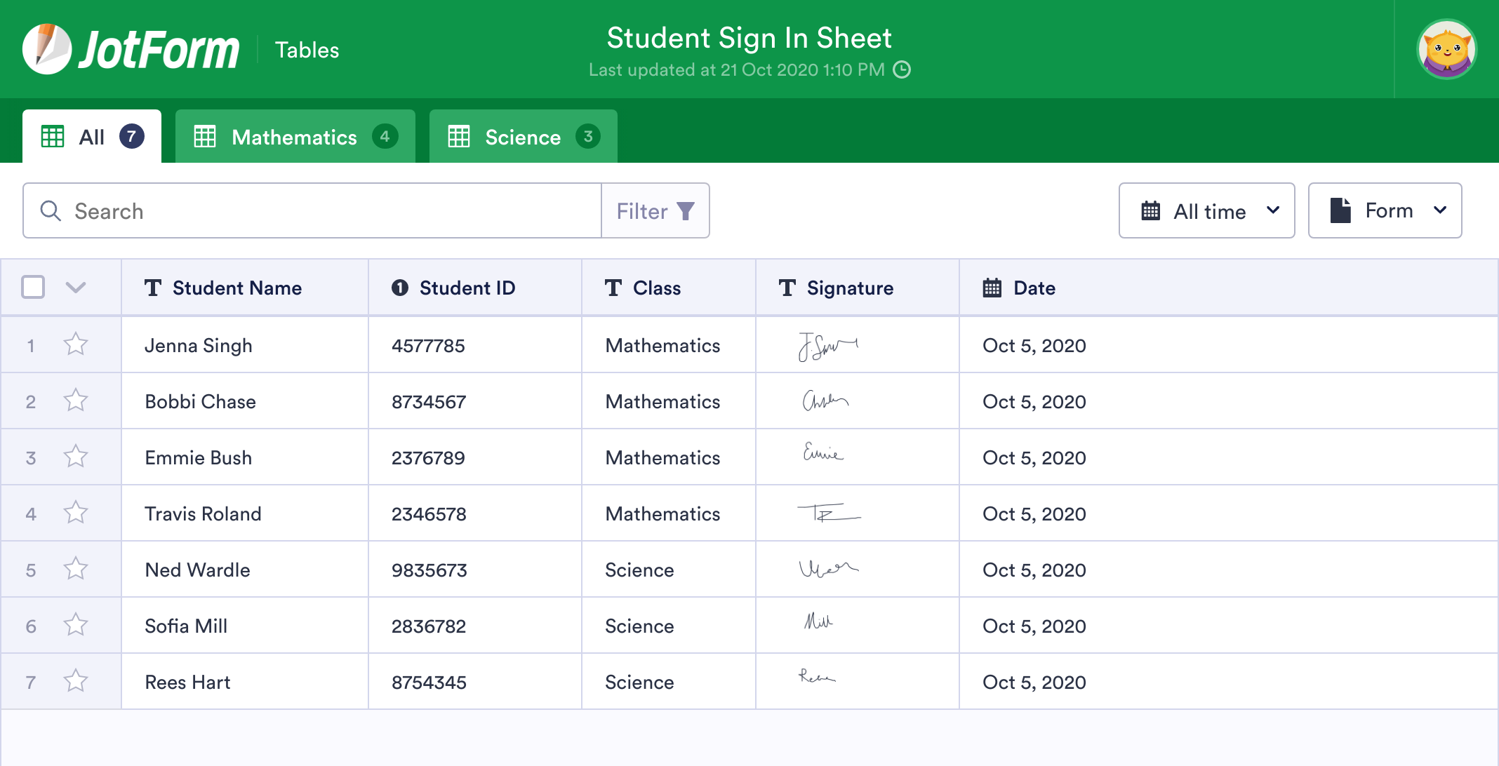 Student Sign In Sheet