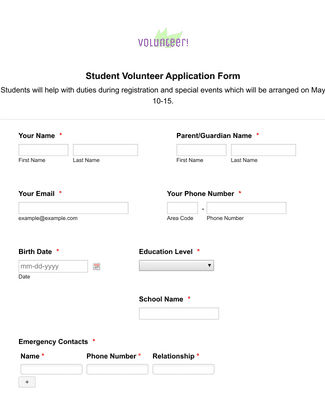 Student Volunteer Application Form