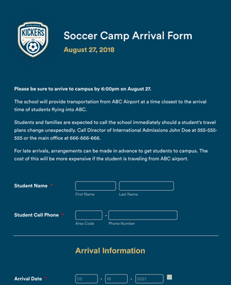 Summer Camp Arrival Form