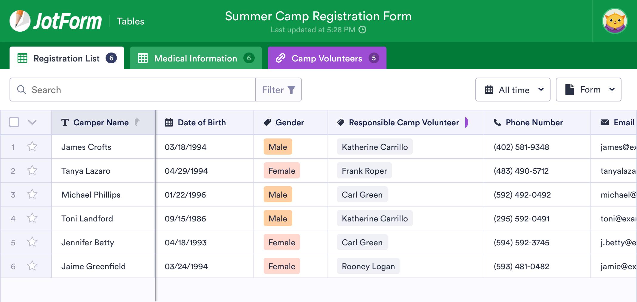 Summer Camp Sign Up Sheet Template
