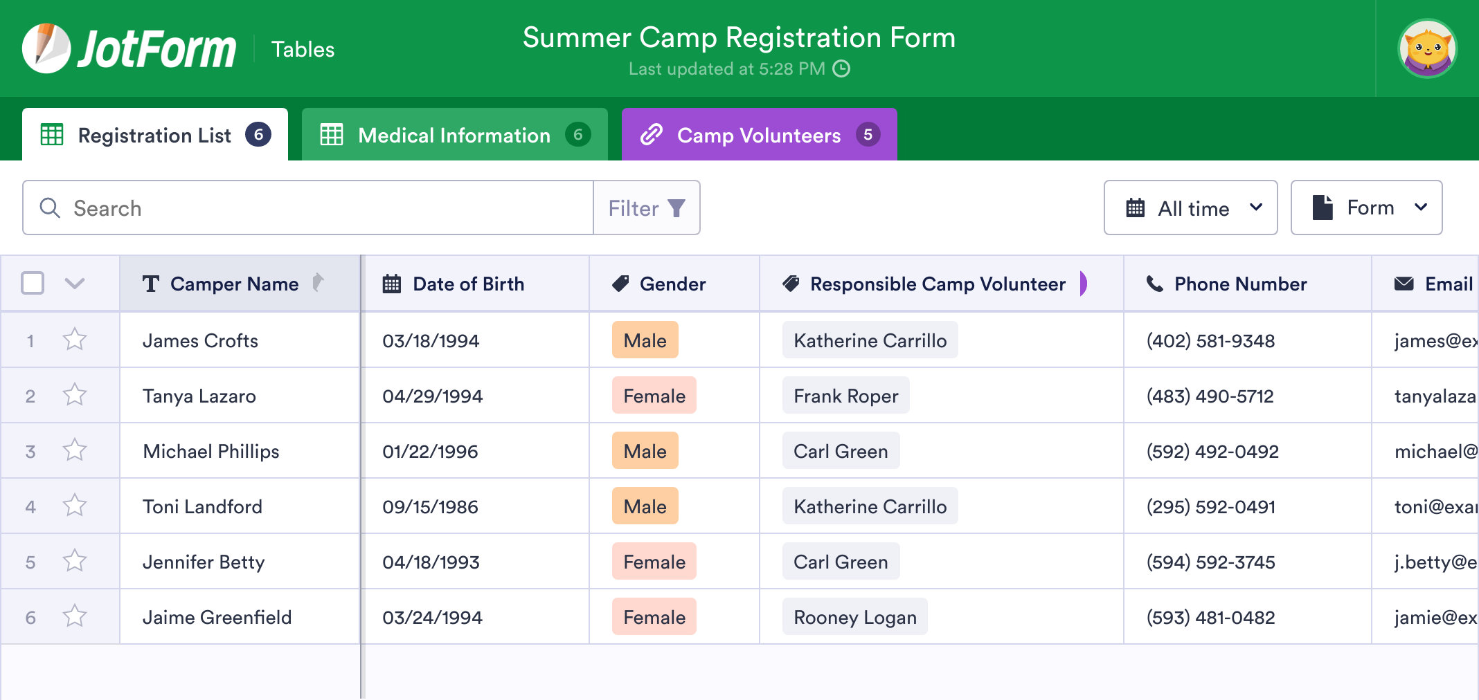 Summer Camp Sign Up Sheet Template