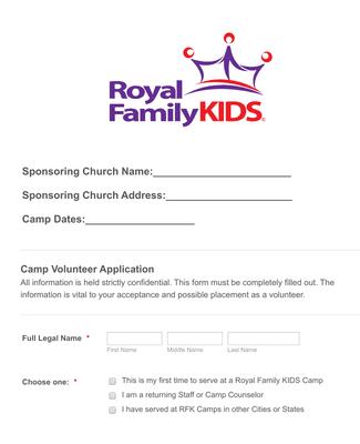 Summer Camp Volunteer Application