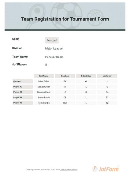Team Registration for Tournament Form