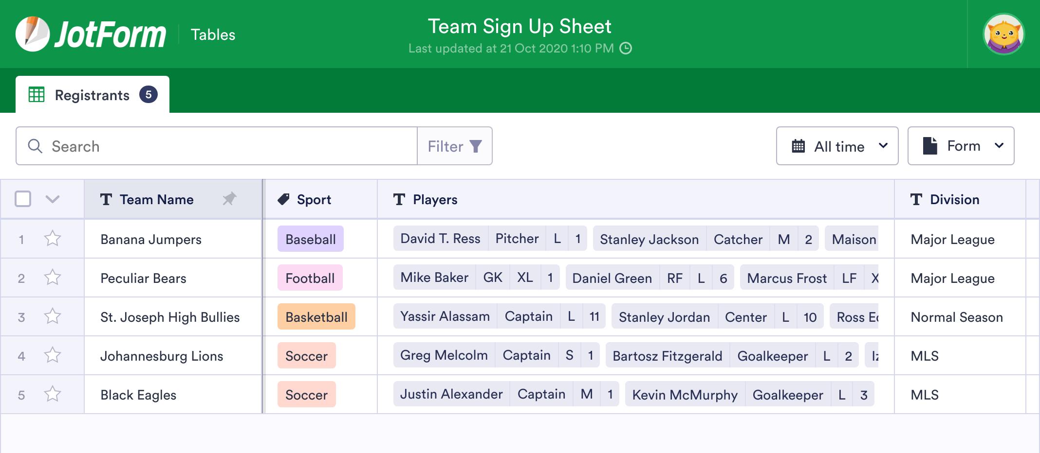 Team Sign Up Sheet