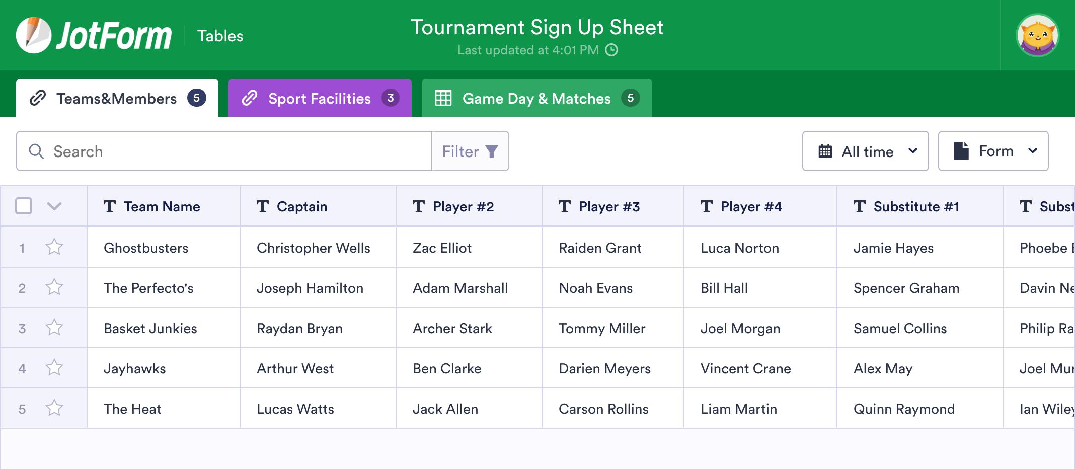 Tournament Sign Up Sheet