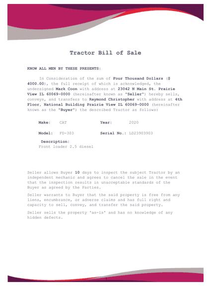 Tractor Bill of Sale