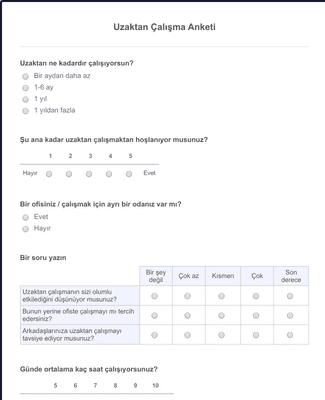 Uzaktan Çalışma Anketi Formu
