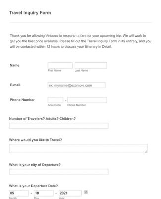 Travel Inquiry Form