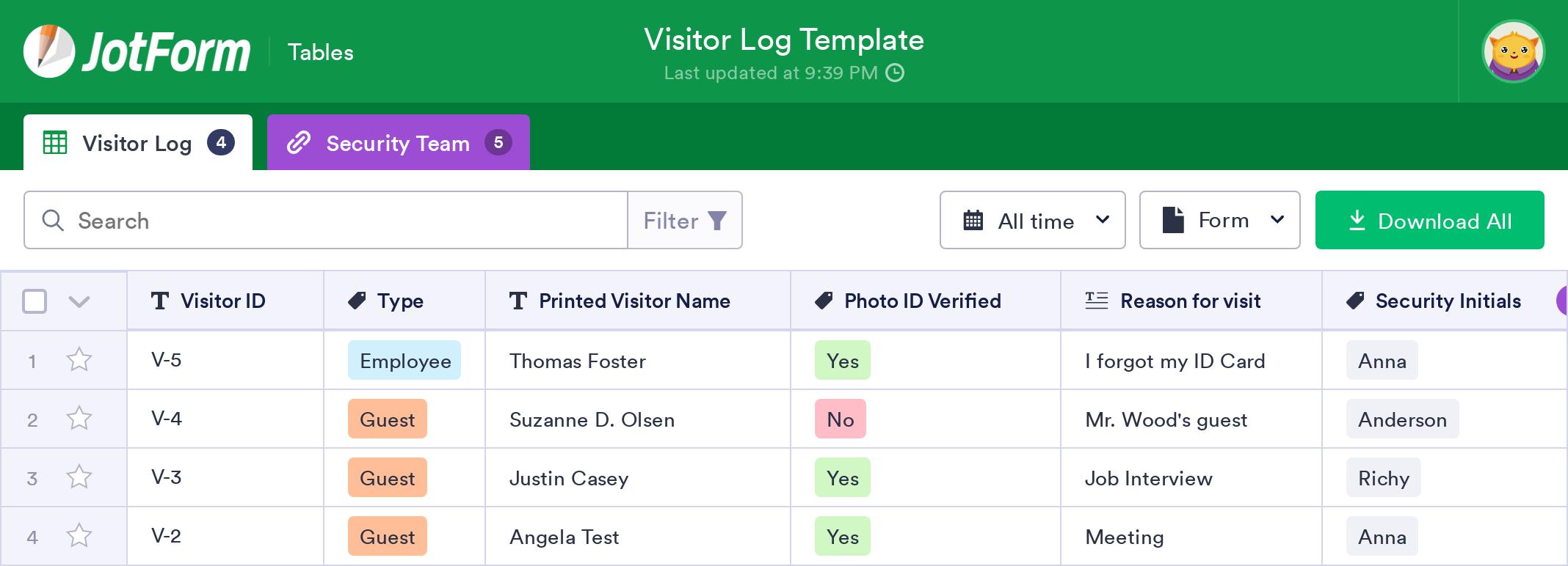 Visitor Log Template
