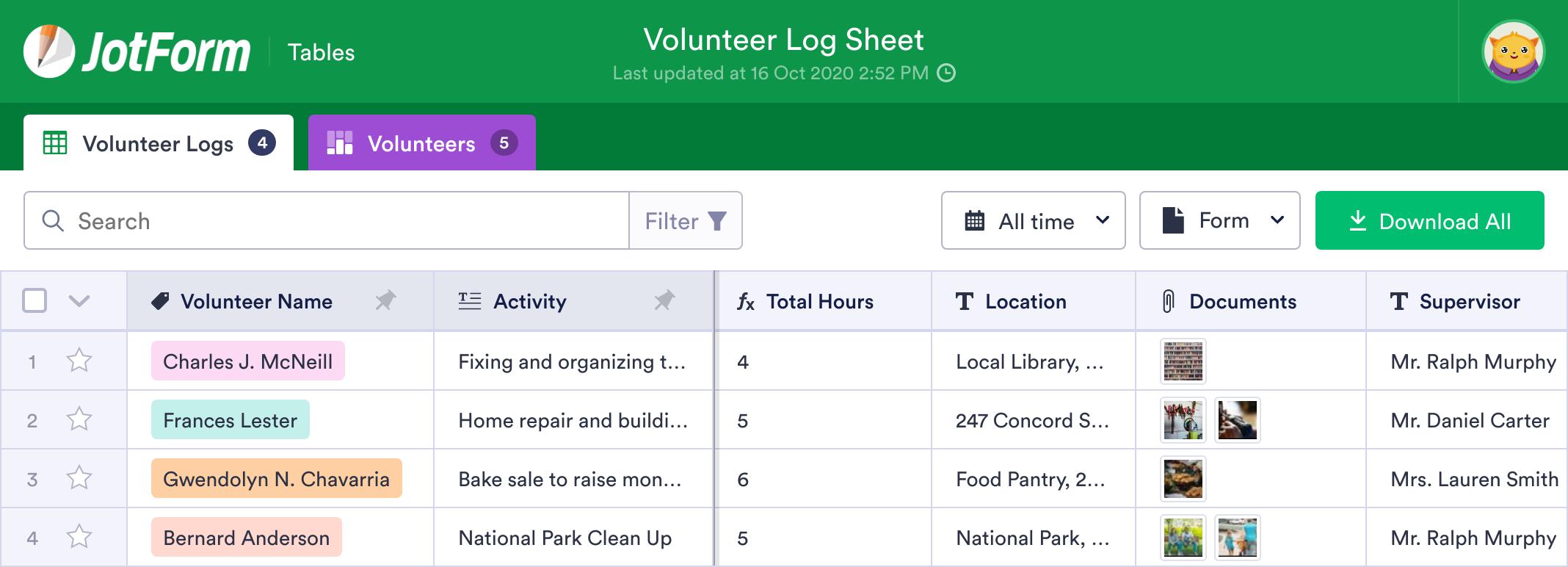Volunteer Log Sheet