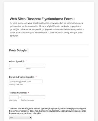 Web Sitesi Fiyat Teklif Formu
