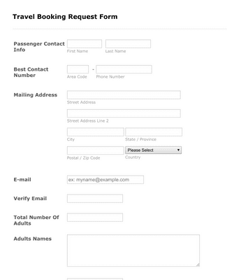 Xstream/Paycation Travel Booking Request Form