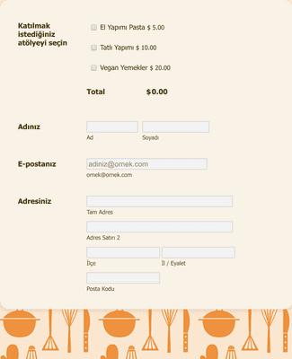 Yemek Atölyesi Kayıt Formu PayPal Standard