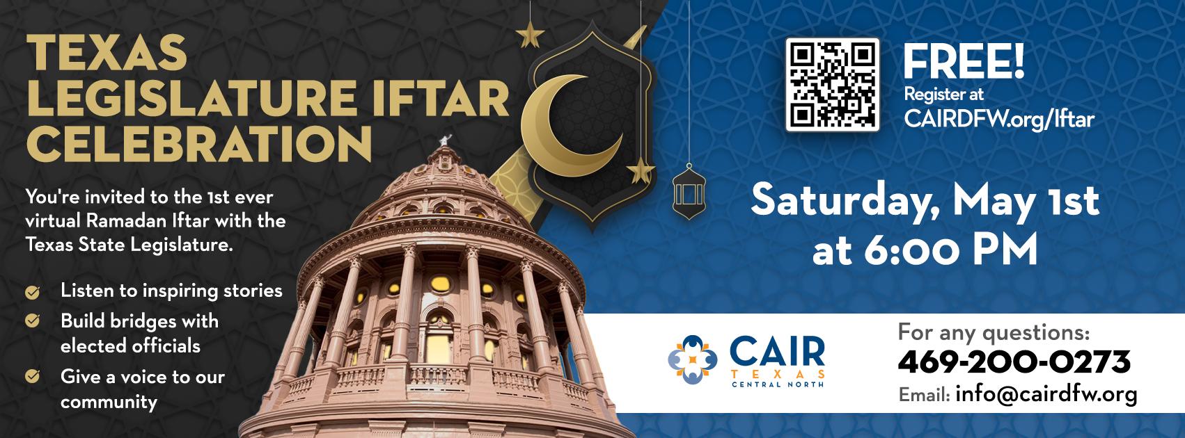 Registration for TX Legislature Iftar Celebration