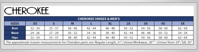 Scrub Set Size Chart