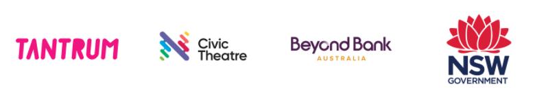 Logos - Tantrum Youth Arts; Civic Theatre; City of Newcastle; Beyond Bank Australia; NSW Government