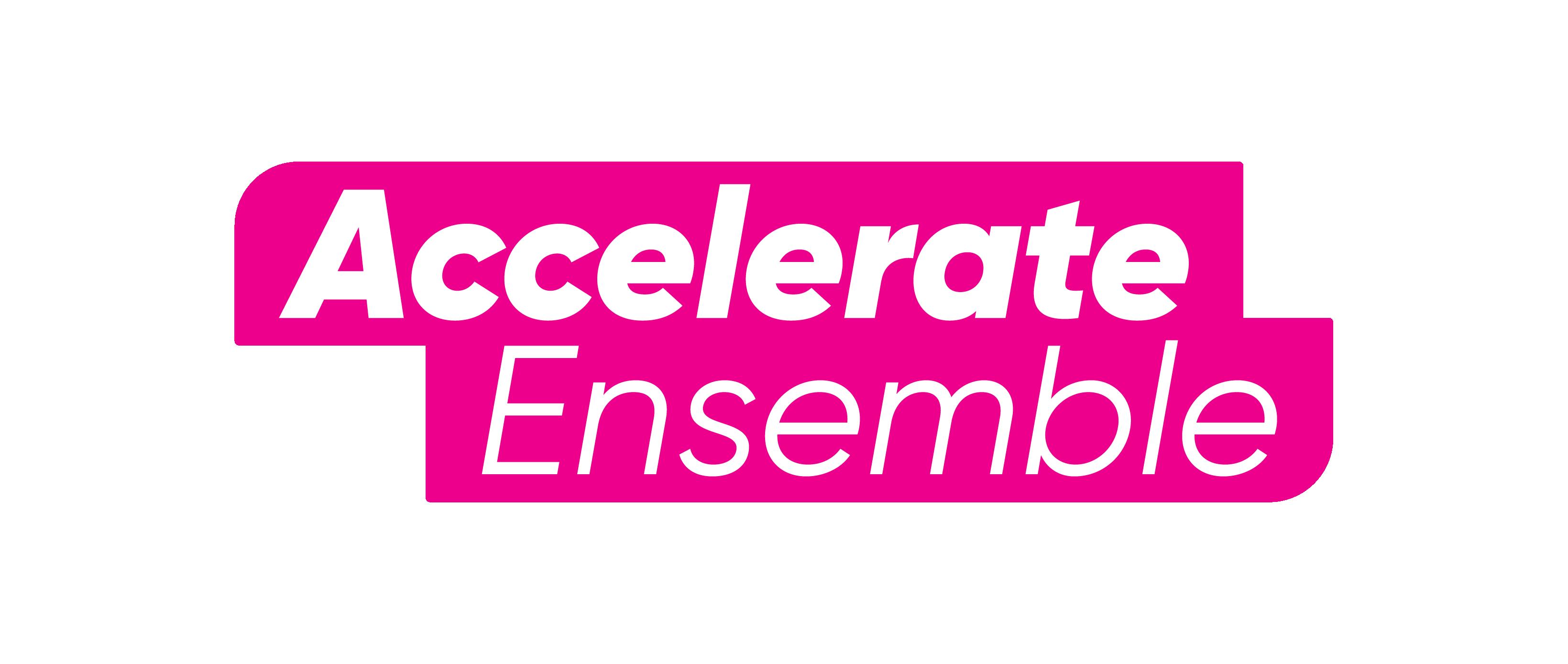 "Pink Logotype reads ""Accelerate Ensemble""."