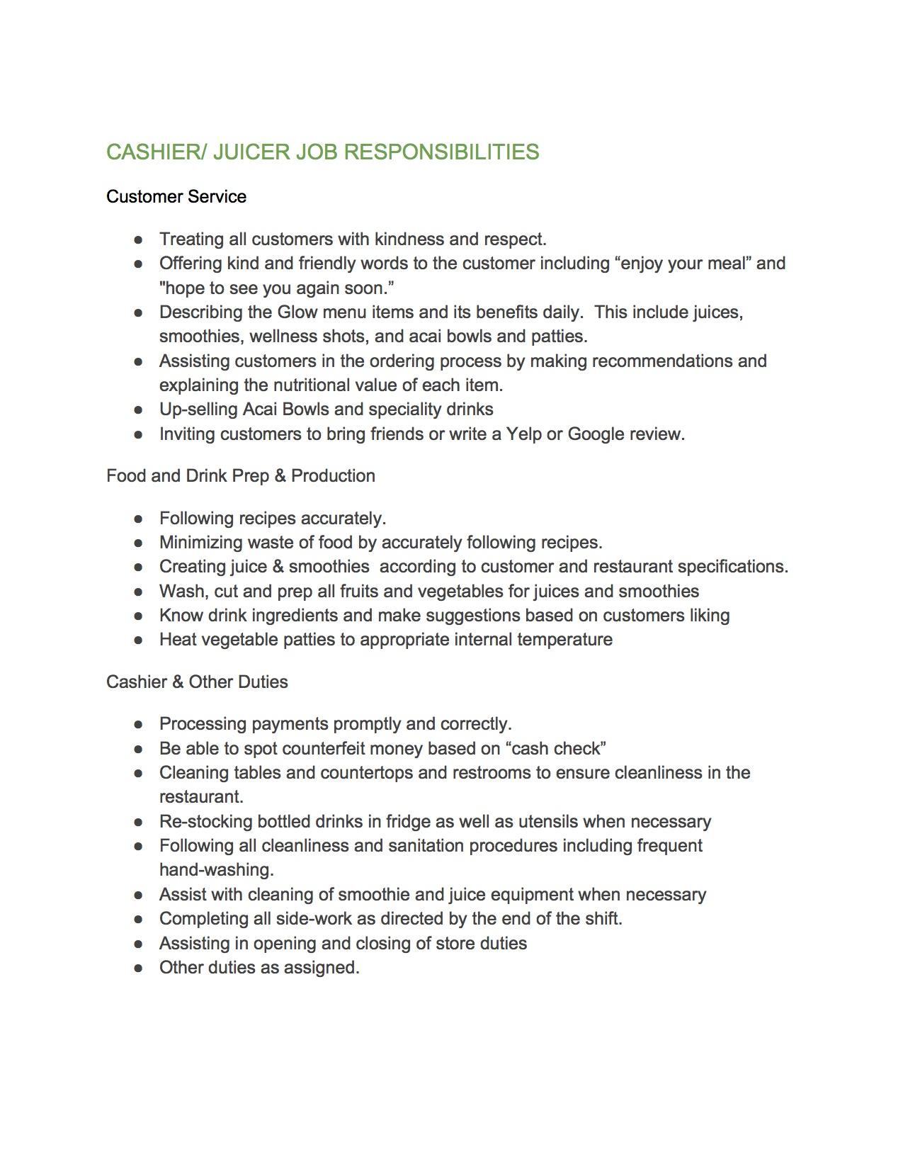 The Glow Job Description
