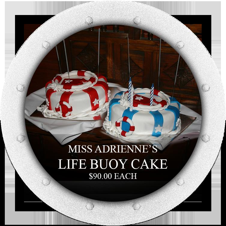 THE LIFEBUOY CAKE 30cm round white mud cake $90.00