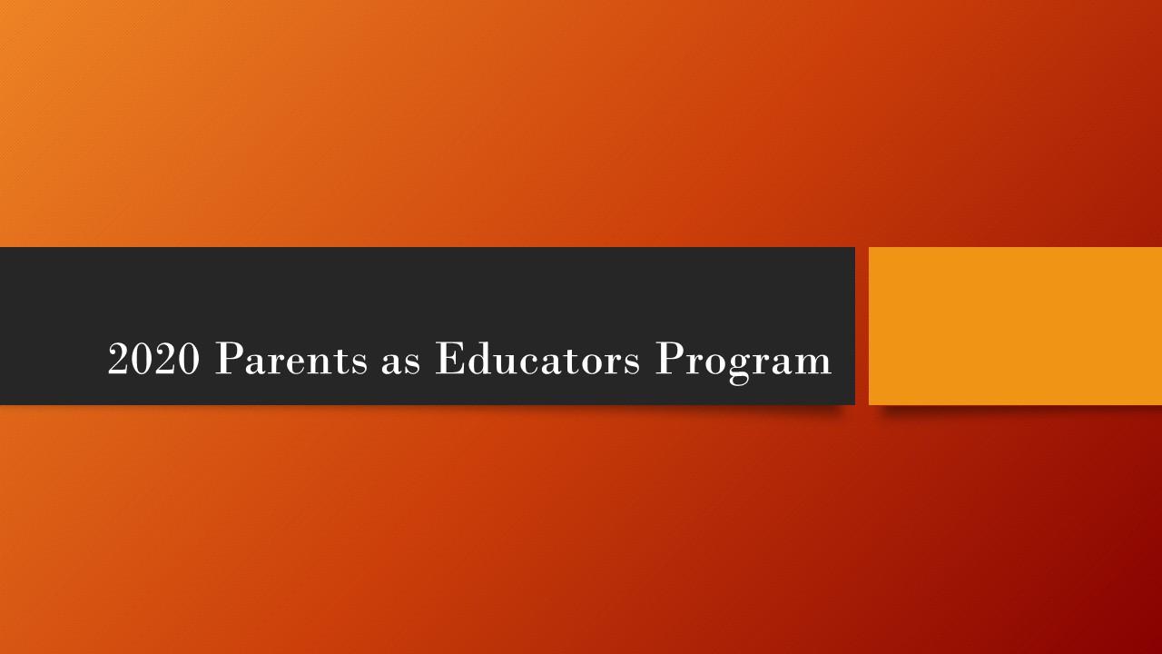 PARENTS AS EDUCATORS PROGRAM