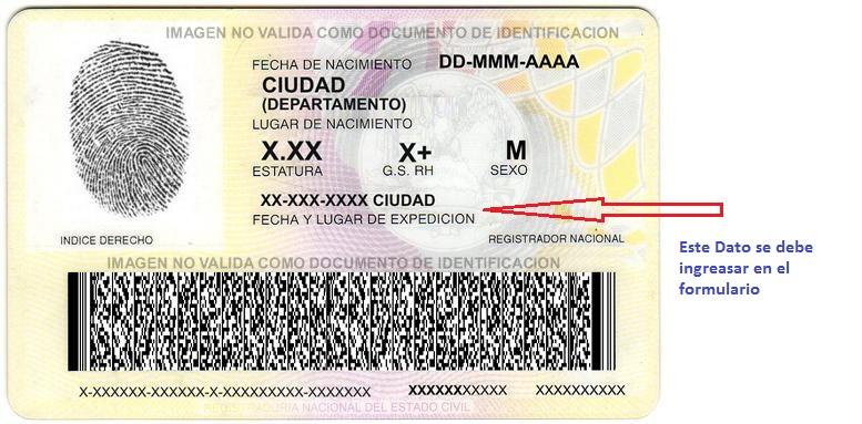 Lugar de expedición del documento de identidad