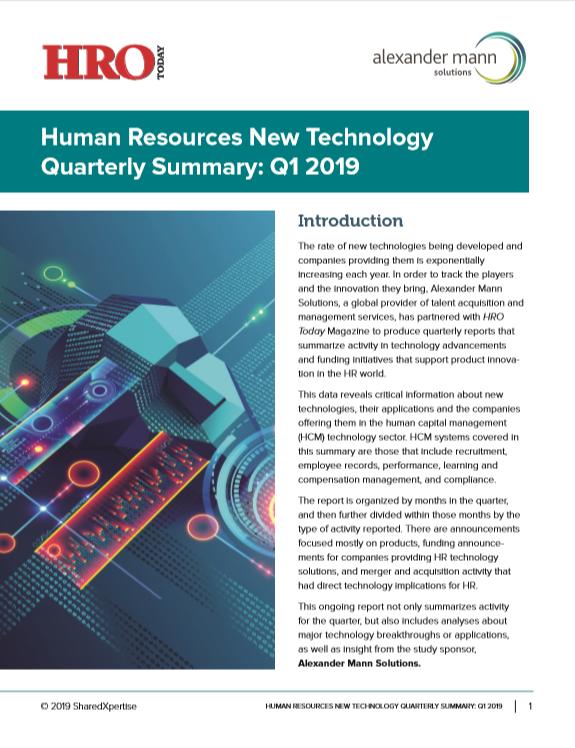 Cover: New HR Tech Quarterly Summary: Q1 2019