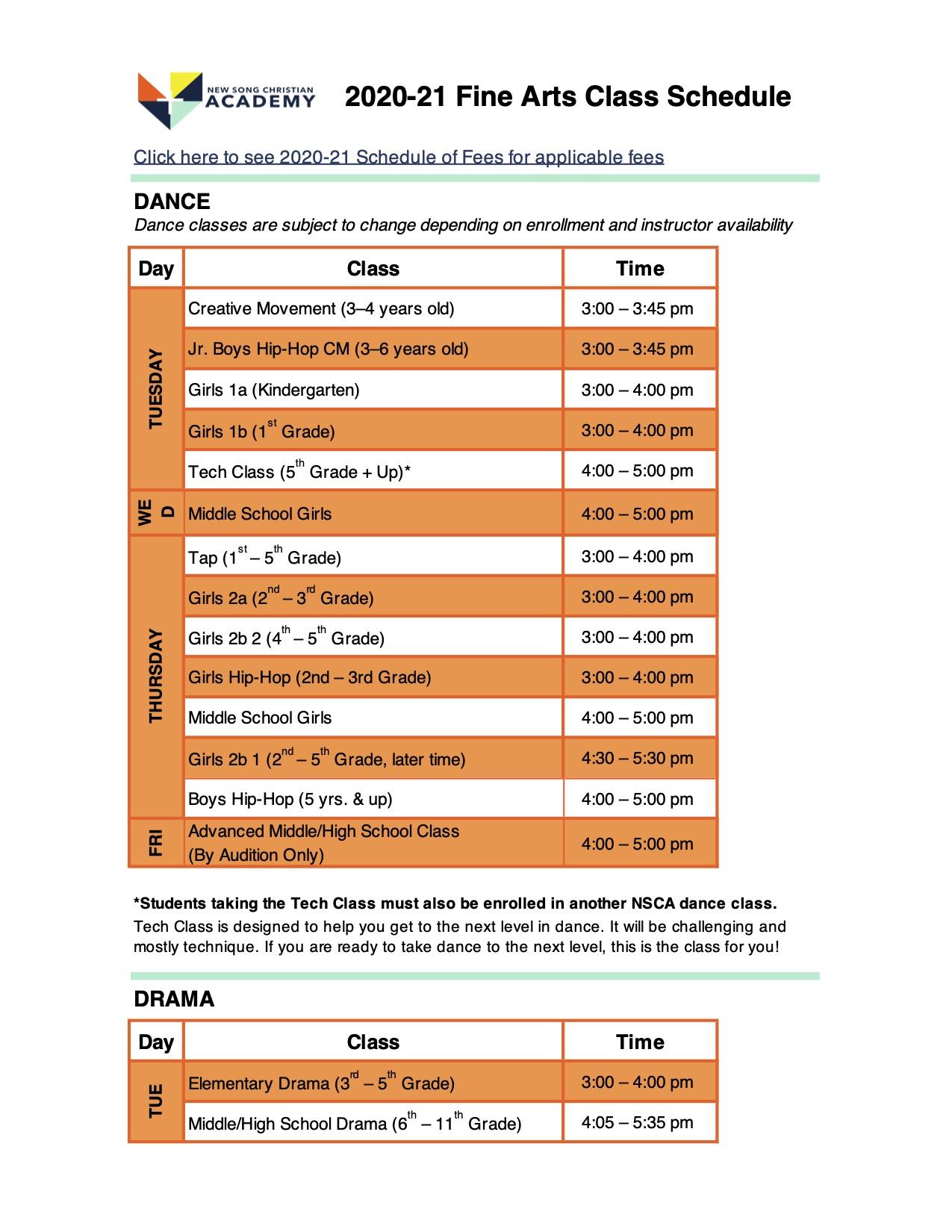 Fine Arts Class Schedule