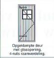 opgeklampte deur met glasopening 4-ruits raamverdeling