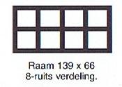 Raam 139x66 8-ruits verdeling