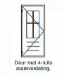 Deur met 4-ruits raamverdeling