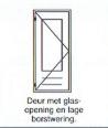 Deur met glas-opening en lage borstwering