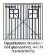 opgeklampte draaideur met glasopening 4-ruits raamverdeling
