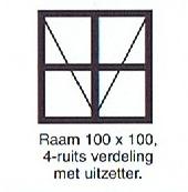 raam 100x100 4-ruits verdeling met uitzetter