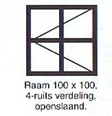 raam 100x100 4-ruits verdeling openslaand