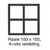 raam 100x100 4-ruits verdeling