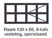 raam 139x66 8 ruits verdeling openslaand