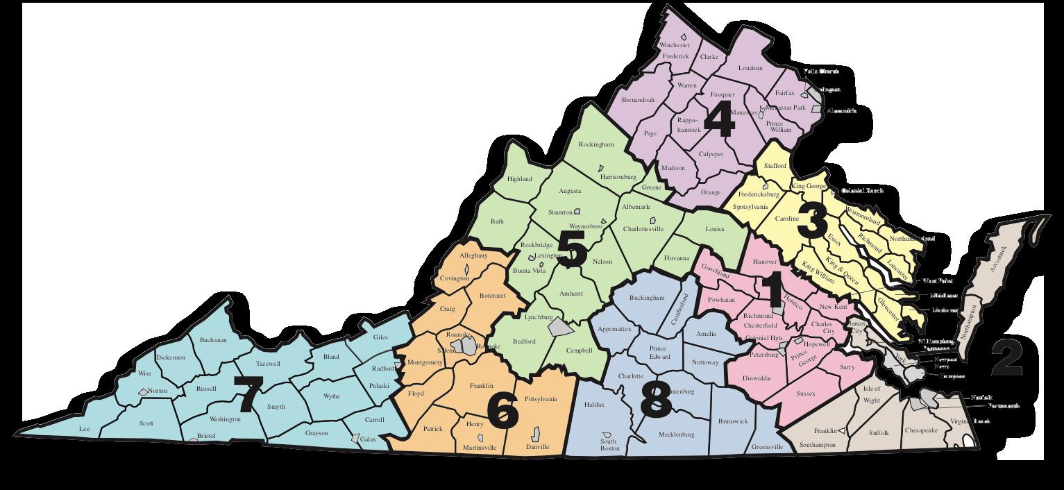 Map of Virginia depicting the 8 VDOE superintendent's regions