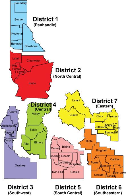 Idaho Health Districts map