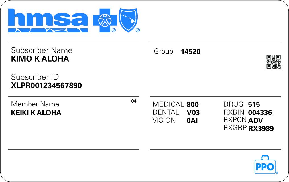 HMSA Insurance Card Example