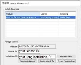 RobotC License Management Window Sample