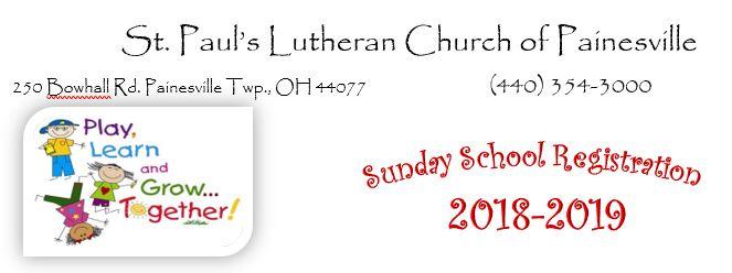 St. Paul's Sunday School Registration 2018-2019
